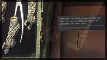Spy Museum James Bond Villain Torture Instruments Text