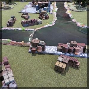 Envirotex Wargames River WWII Terrain Crates Barrels