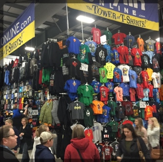 Ottawa Comiccon Costumes Tower of T Shirts