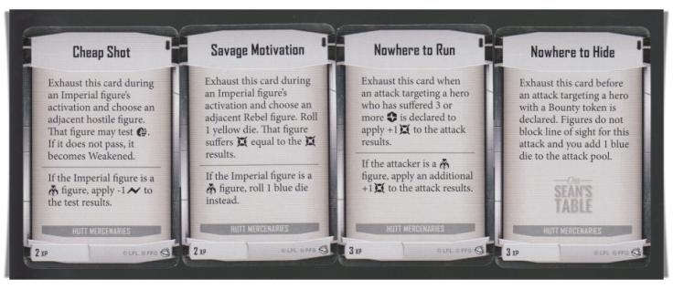 Imperial Assault Jabba's Realm Hutt Mercenaries 2 3 XP Cards