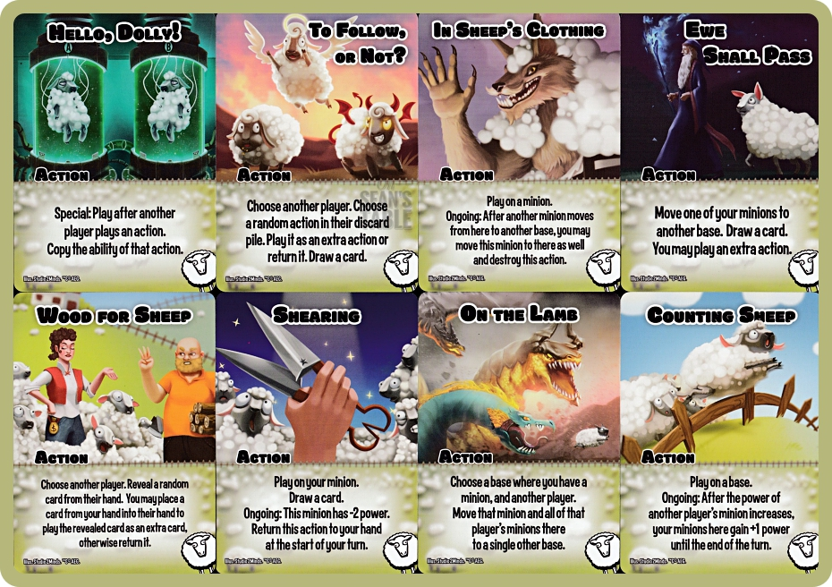 Smash Up Sheep Action Cards